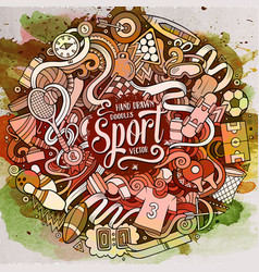cartoon cute doodles hand drawn sport vector image