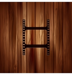 Film web icon filmstrip symbol wooden texture vector