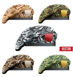 Set of military camo beret special forces vector