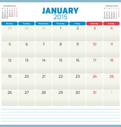 Calendar planner 2015 template week starts monday vector