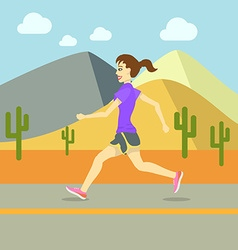 Running women sport exercising flat design vector