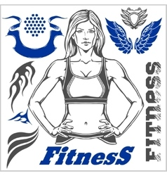 Healthy fitness girl and design elements vector