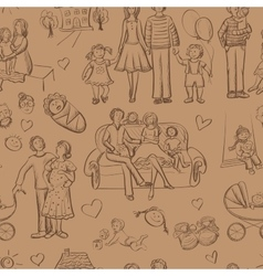 Hand drawn seamless pattern with happy families vector