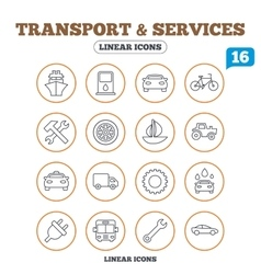 Transport services icons ship car and bus vector