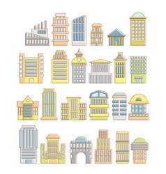 Collection of buildings houses and architectural vector