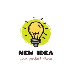 Funny doodle style light bulb logo sketchy vector