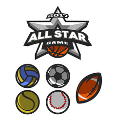 All star game logo emblem vector