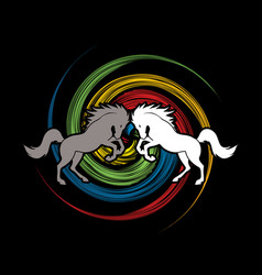 Angry twin horse graphic vector