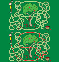 Apple picking maze vector