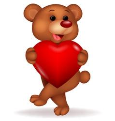 Bear cartoon with love heart vector image vector image