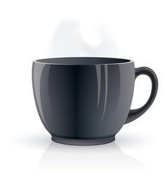 Black hot teacup vector