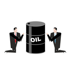 Businessman praying for oil prayer barrel of vector