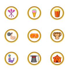 Circus day icon set cartoon style vector