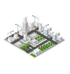 city isometric industry vector image vector image