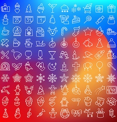 Clean flat icons set for christmas holydays vector