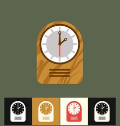 clock icon flat wood analog vector image