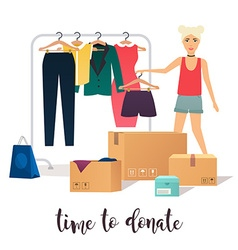 Clothes donation girl makes clothes donations vector