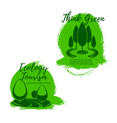 ecology and ecotourism icon set with green trees vector image vector image