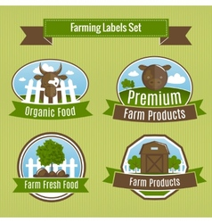 Farming harvesting and agriculture badges vector image vector image