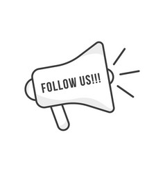 Follow us with thin line megaphone vector