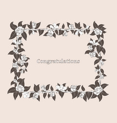 Frame for congratulation with roses vector