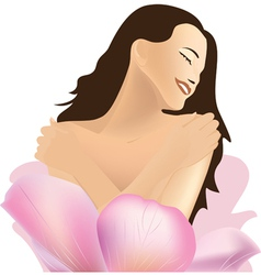Girl and flower spa vector