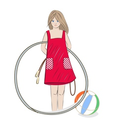 Girl with hula hoop beach ball and skipping rope vector