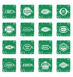 Golden labels icons set grunge vector
