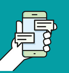 Hand holding smartphone chatting linear icon line vector
