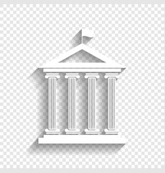 Historical building with flag white icon vector