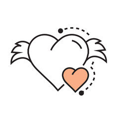 icon hearts wings line design vector image