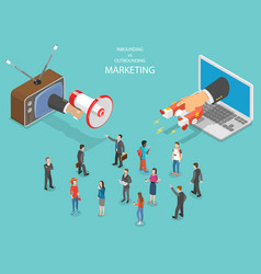 Inbound vs outbound marketing isometric vector
