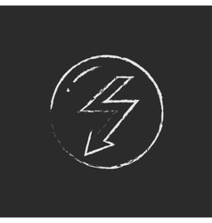 Lightning arrow downward icon drawn in chalk vector image