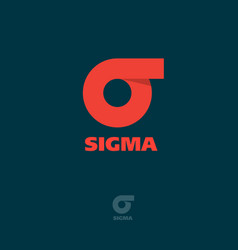 Logo sigma flat emblem greek letter vector