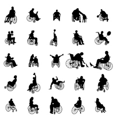 Man and woman in wheelchair silhouettes vector