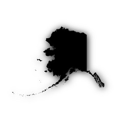 Map of alaska with shadow vector