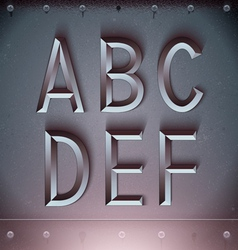 Metal Embossed Font from A to F vector image vector image