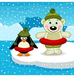 polar bear penguin go swimming vector image vector image
