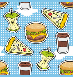 Pop art seamless pattern with fast food vector