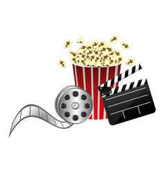 pop corn film production film board and 3d vector image vector image