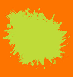 print template green neon splash on orange vector image