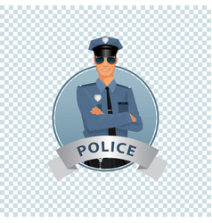 round icon on white background with policeman vector image vector image