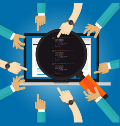 software review testing coding and programming vector image vector image