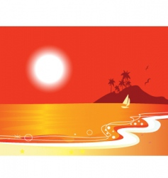 sunny beach coastal vector image vector image