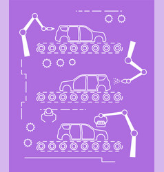 thin line style car assembly line vector image vector image