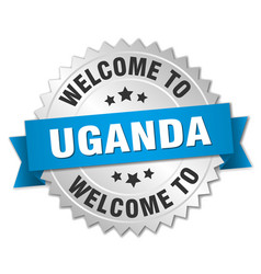 Uganda 3d silver badge with blue ribbon vector