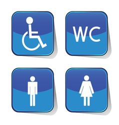 Wc icon blue vector