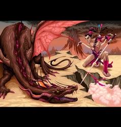 Fighting scene between dragon and elf vector image