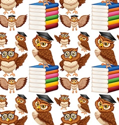 Seamless background with owl and books vector image