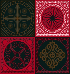 Red ornamental scuares vector